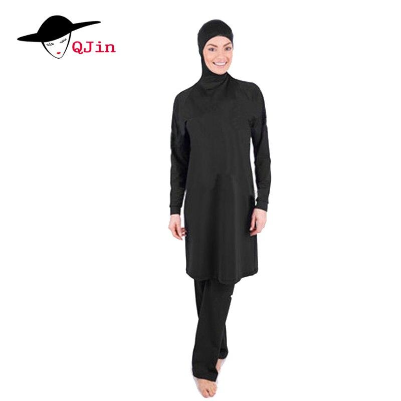 2018 di Copertura Completa nero Modest Abbigliamento spiaggia per Musulmani Costume Da Bagno Islamico per Le Donne Arabo Hijab Costumi Da Bagno Costume Da Bagno di Usura Della Spiaggia Burkinis