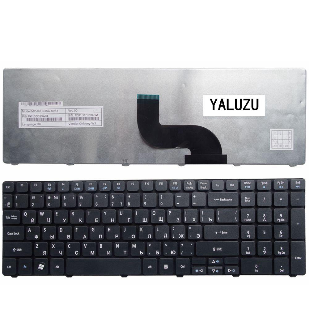 YALUZU Russian Keyboard For Acer PK130C94A00 NSK-AUB0R PK130C91104 V104702AS3 MP-09B23SU-6983 PK130C91100 RU Laptop Black