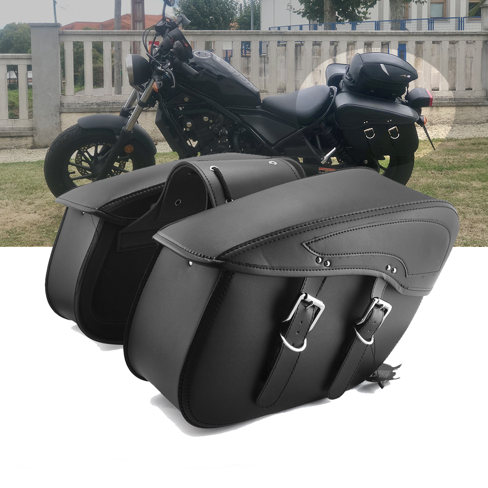 Motorcycle Saddlebag Leather Waterproof Luggage Bags For Sportster XL883 For Triumph Rocket Roadster For Kawasaki VulcanMotorcycle Saddlebag Leather Waterproof Luggage Bags For Sportster XL883 For Triumph Rocket Roadster For Kawasaki Vulcan