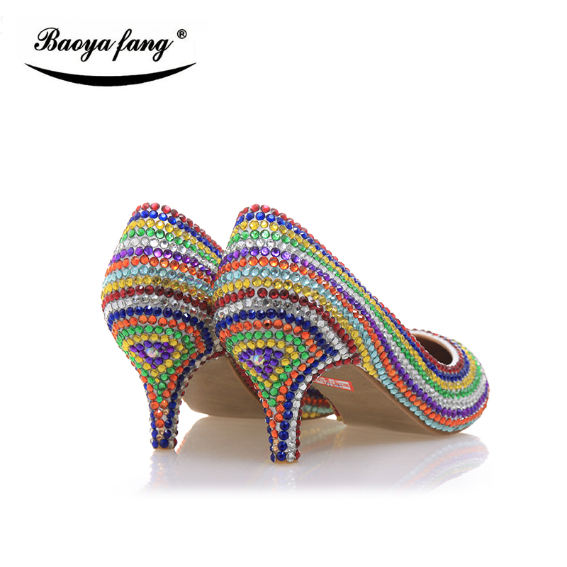6cm pointed toe Multicolored crystal wedding shoes women real leather fashion shoes Bride party dress shoes