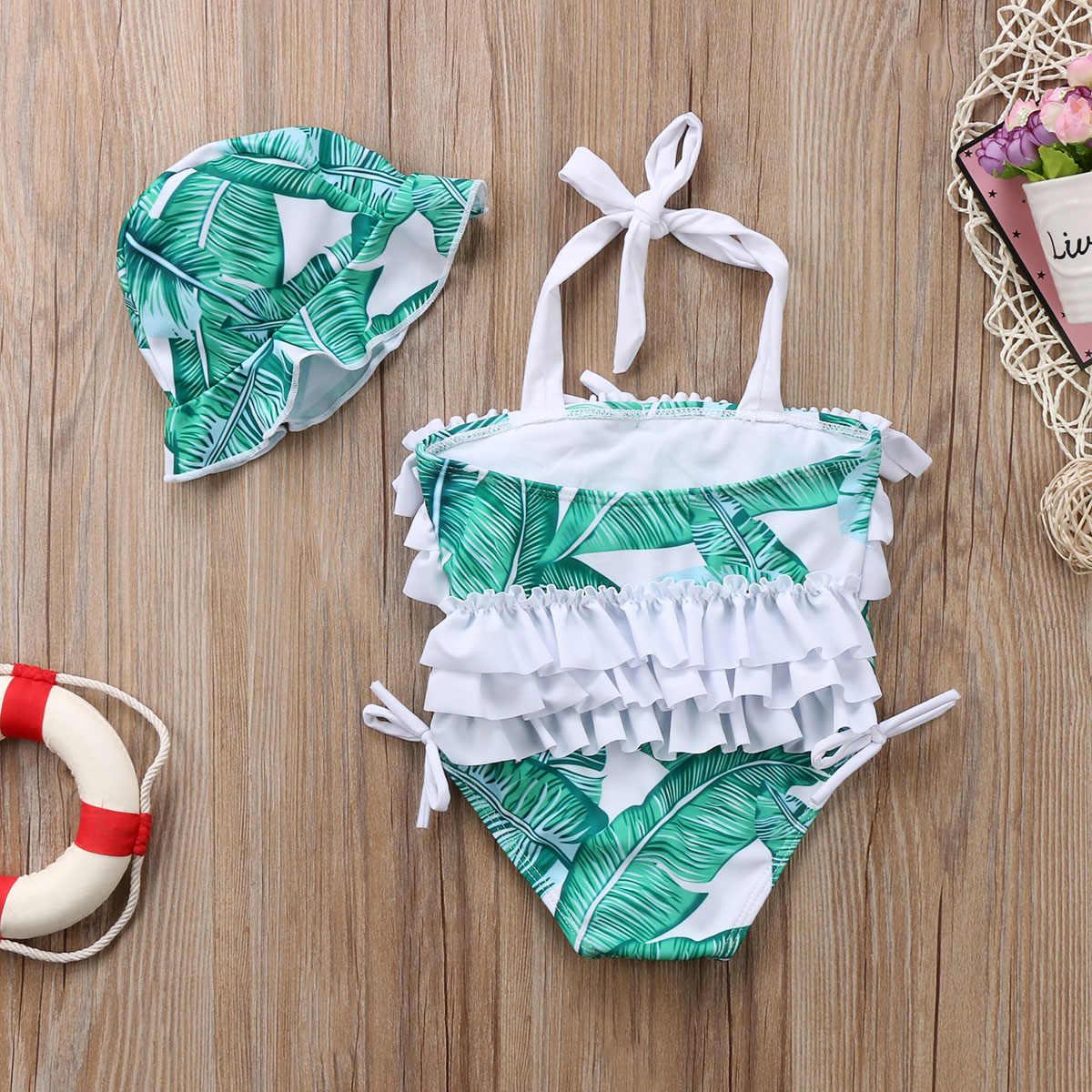 Niños bebé niña Bañador con estampado de palmeras traje de baño Tankini Bikini One pieces sombrero 2018 verano nuevo Bikini de niña con volantes