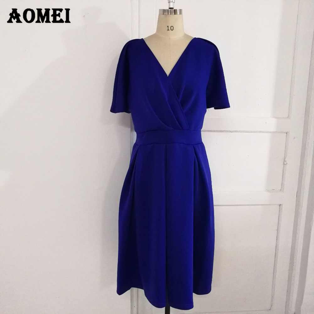 e452a441f3980 Women Swing Dress Backless Pleated Elegant Party Wear Deep V Neck Blue  White Black Classy Vestido Fashion Summer Dresses Clothes