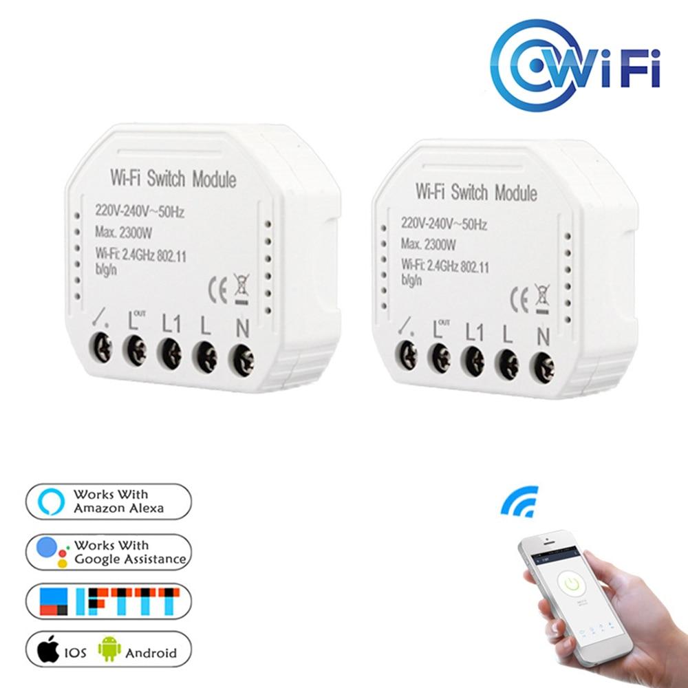 Wi-fi Interruptor de Luz Inteligente Diy Módulo de Automação Residencial Inteligente Disjuntor Vida/Tuya APP Controle Remoto, funciona com Alexa Google Casa de 1/2 Vias
