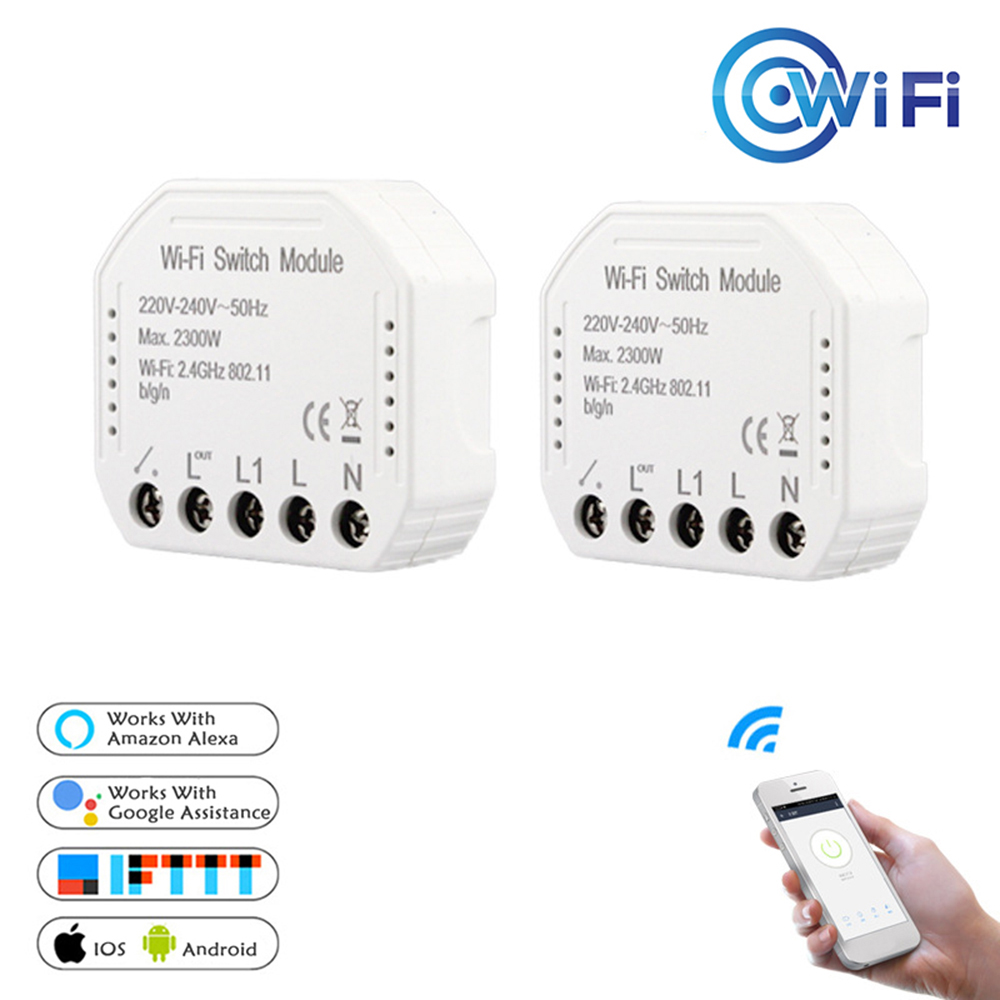 Wifi Smart Light Switch Diy Breaker Automation Module Smart Life/Tuya APP Remote Control,Works with Alexa Google Home 1/2 Way