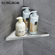 Free Shipping Wall Mounted Corner Shelf Bathroom Kitchen Stainless Steel Storage Organization Rack  Bathroom Shelf ZG-17063L