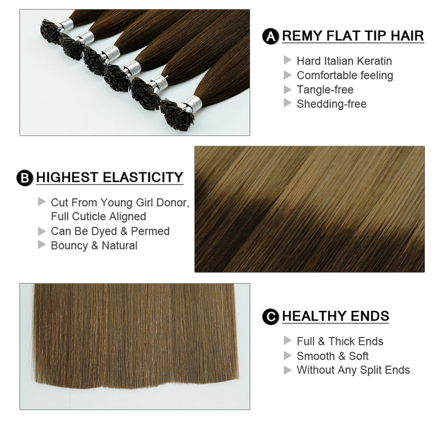 Remy Hair Flat Tip Human Brown And Dirty Blonde Colored Hair Extension