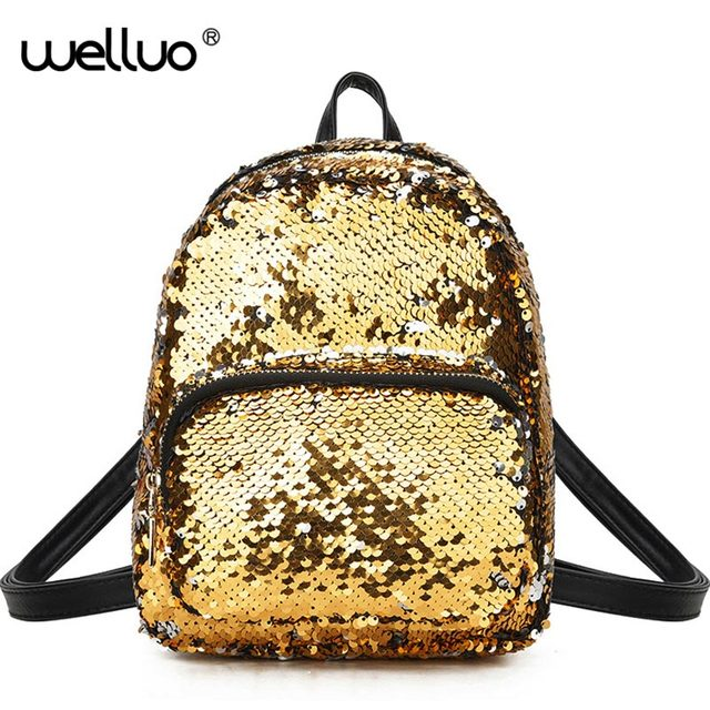 601a41ffbd Wellvo Cute Silver Sequins Backpack Women PU Gold Mini Bag For Girls  Students Glitter Sequin Backpacks Fashion Rucksack XA272WB