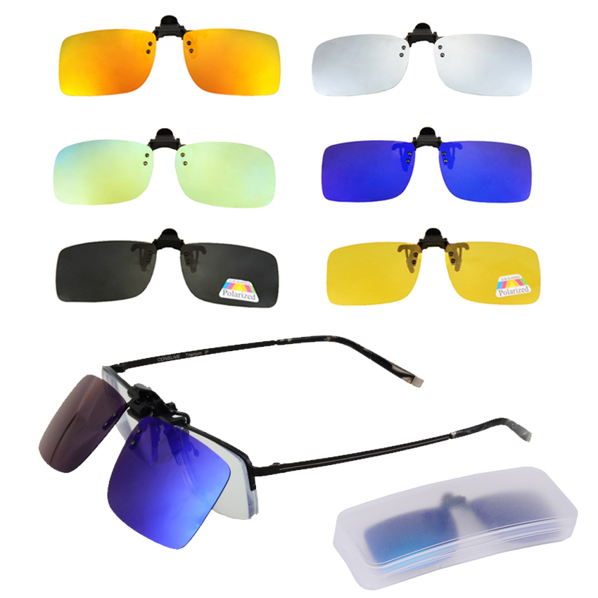 Polarized Clip On Sunglasses Men Women Near-Sighted Driving Night Vision Eyewear UV400 Cycling Fishing Glasses Clip With Box