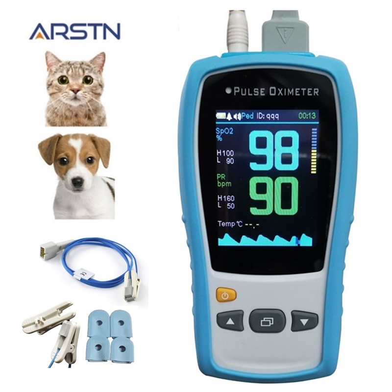 TFTLCD Veterinary handheld pulse oximeter SPO2 PR home heart Rate monitor Pulsioximetro CE with optional Temp probe