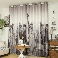 European And American Retro Modern Minimalist British Curtain 3D Liberty Cloth Curtains Living Room Shade Curtain