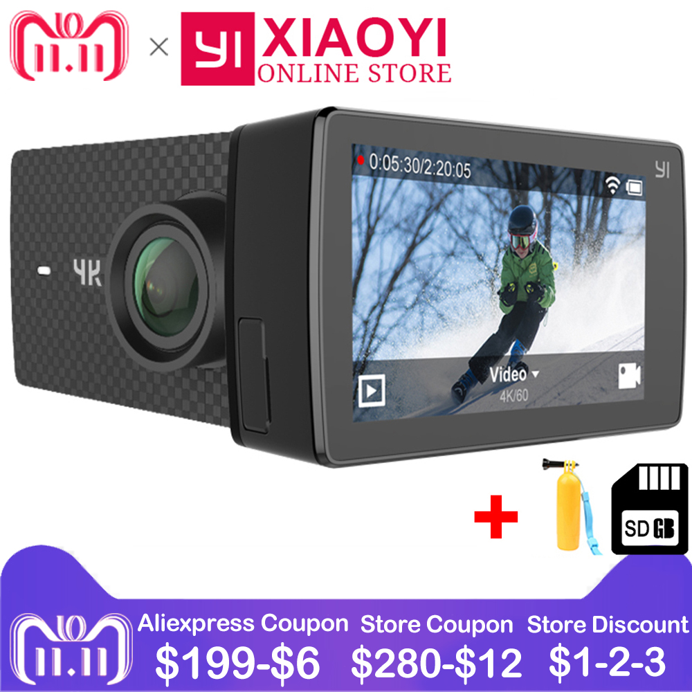 Xiaomi YI 4 k + (Plus) action Cam Sport Caméra Xiaoyi 4 k + Camera Action Amba H2 4 k/60fps 12MP CMOS 2.2 PMA 155 Degrés RAM WIFI