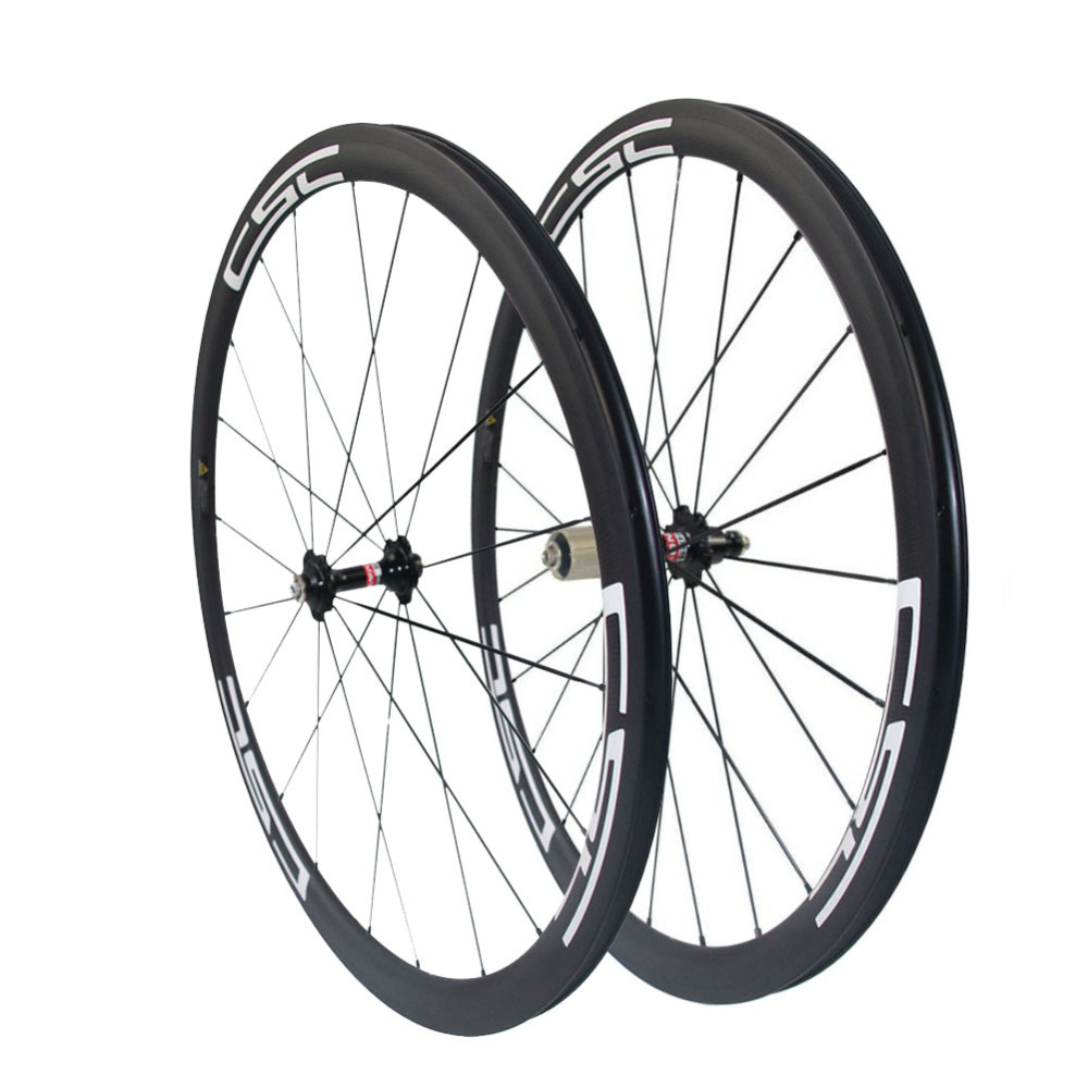 CSC 700C 23mm width carbon wheels 38mm tubular bike wheelset 20 24holes bladed spokes