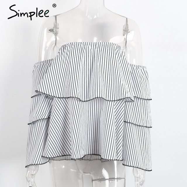Simplee Off shoulder stripe women blouses Summer elegant butterfly sleeve blouse shirt 2017 Causal ruffle cool blouse blusas