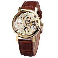 2017 New Hot Sale Skeleton Fashion Mechanical Men Watch Winner Luxury Branded Business Leather Strap Wristwatch