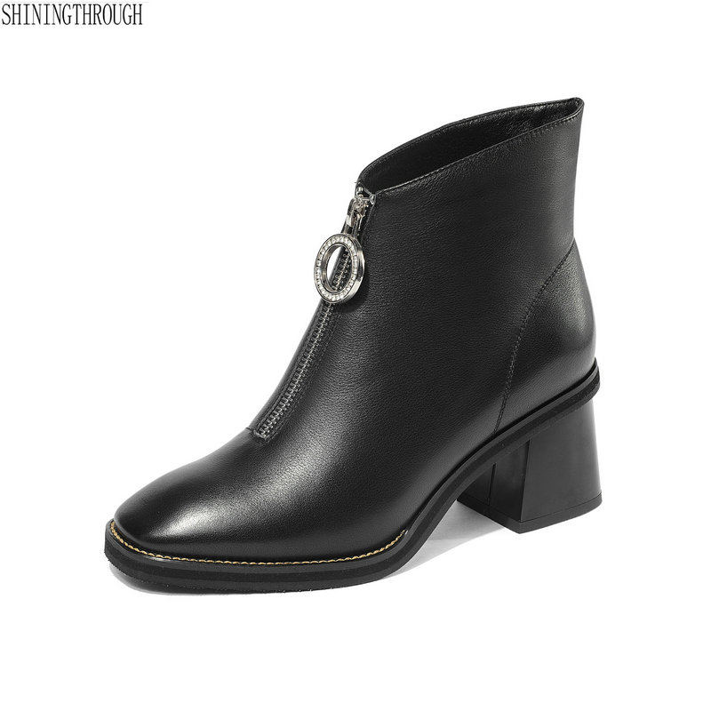 New women genuine leather ankle boots thick high heels black ladies dress shoes square toe zipper spring autumn boots womanNew women genuine leather ankle boots thick high heels black ladies dress shoes square toe zipper spring autumn boots woman