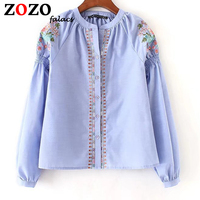 Falacs Zozo Women Summer Autumn Casual Sweet Prairie Chic England Style Blouses Shirts Top Embroidery Blue