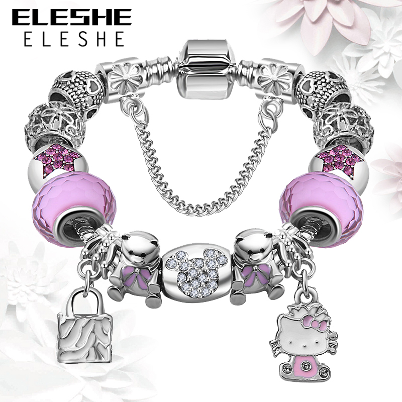 Lovely Girls Jewelry Silver Plated Women Bracelet Pink&Blue Murano Glass Beads Crystal Hello Kitty Charms Bracelet for Women