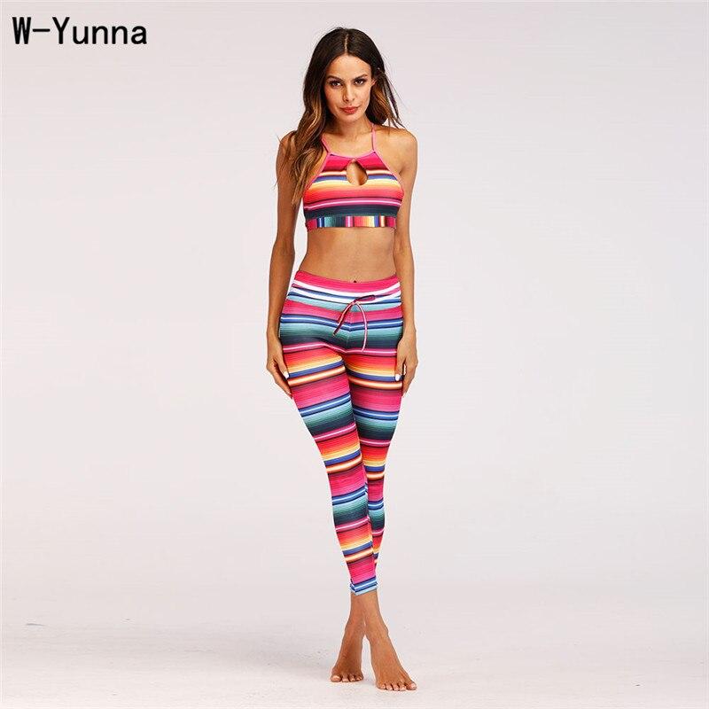 W-Yunna Women Clothes 2018 Color Striped Print High Waist Ventilation Push Up Pants Fashion Slim Workout Leggings For Women