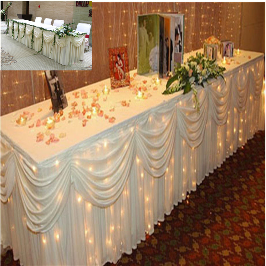 Superieur Table Skirts White Ice Silk Solid 20ft (6M)Table Skirt With Purple/tiffany  Blue Swag Wedding Decoration Table Cloth In Table Skirts From Home U0026 Garden  On ...