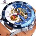 Forsining, уникальные автоматические мужские часы, креативные, полусиние, белые, с полым циферблатом, натуральная кожа, механические часы, модны...