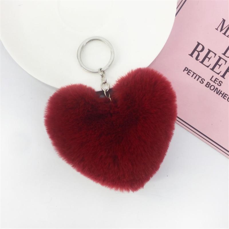 Sang trọng trái tim Lông Thú Giả Móc Khóa Mặt dây chuyền tình yêu Túi nữ Xe đồ trang trí nhà máy tùy chỉnh móc khóa