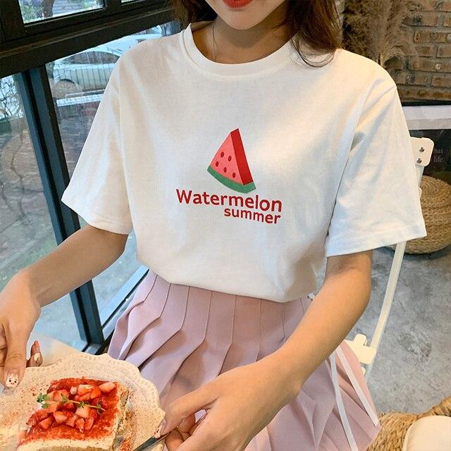 Bts harajuku kawaii branco t shirt tops de verão coreano moda 2019 retro doce carta de impressão frutas melancia camisas engraçadas de t mulheres