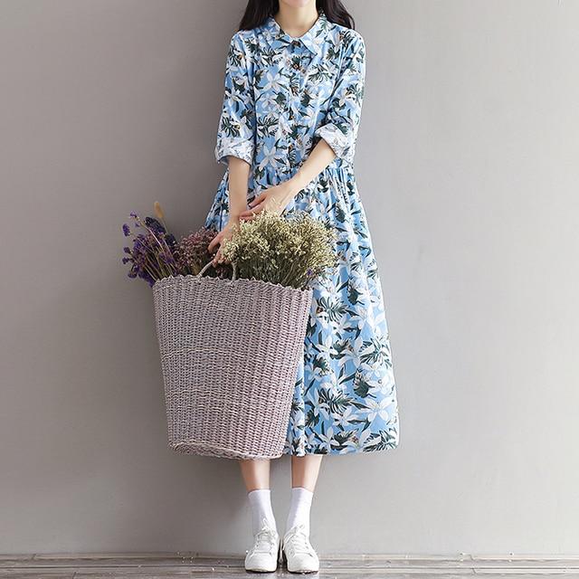 0d1e4e86e8dae3 Vestito Da donna Con Stampa Floreale In Cotone Abito di Lino A Manica Lunga  del Vestito