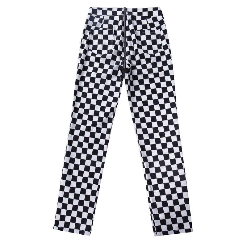 InstaHot Plaid Zipper Checkered Straight Pants Women Fashion Casual Slim Pockets Long Pants Black White Pencil Pantalon Femme 20
