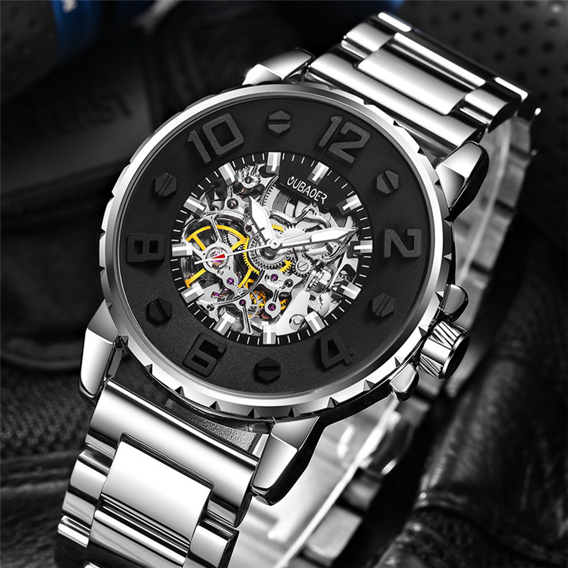 OUBAOER Men Automatic Mechanical Watches Luxury Band Fashion Casual Wristwatches Relogio Masculino Watch Man forsining fashion brand men simple casual automatic mechanical watches mens leather band creative wristwatches relogio masculino