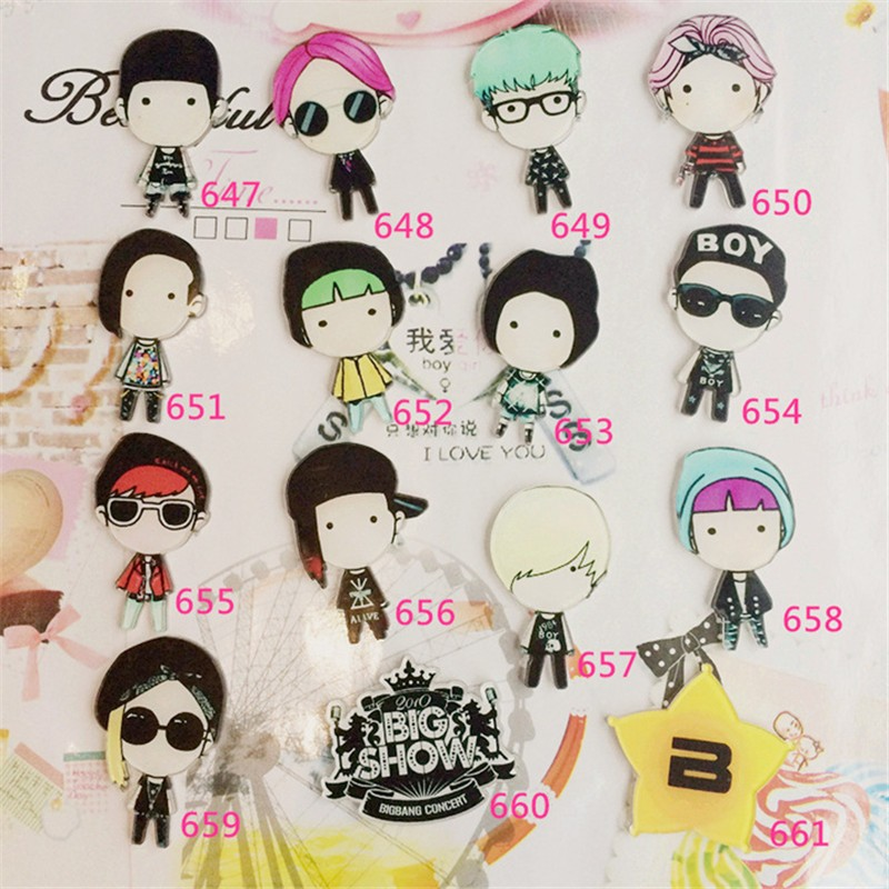 Korean star Q version Acrylic Badge bigbang costumes Badge Pin Up Clip Scarf Collar Bag Brooch XZ94