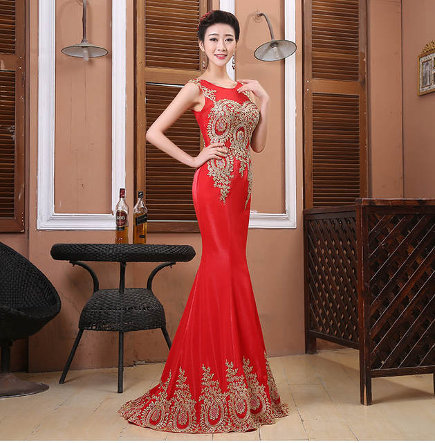 3a044c7f78 Pretty red black 2016 elegant Trumpet / Mermaid evening dresses gold  appliques dresses formal party dress rhinestones prom dress