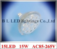 Tour profil en aluminium LED spot light lampe spotlight ampoule LED par lumière parlight E27 AC85-265V 15LED 15 W 1200lm 50 pcs/lot
