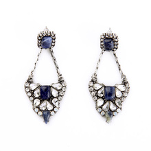 E00597 Fashion Jewelry Friendly Material Wholesale New Arrival Statement Dangle Antique Silver Color DIY Porcelain Earrings
