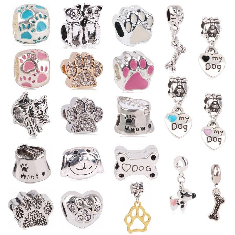 Ranqin Fashion 1set Silver&Rose Gold Dog Paw Bead Charms For European Pandora Charm Bracelets Women Gift