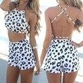 Verano femenino mujeres del estilo del verano mamelucos womens jumpsuit cruz backless leopard impreso crop top y pantalones cortos set