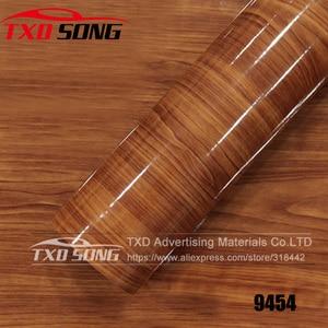 Image 5 - FILM vinyle PVC, bois brillant, autocollant, pour décoration intérieure de voiture, 10/20/30/40/50/60x152CM, brillant, GRAIN de bois, livraison gratuite
