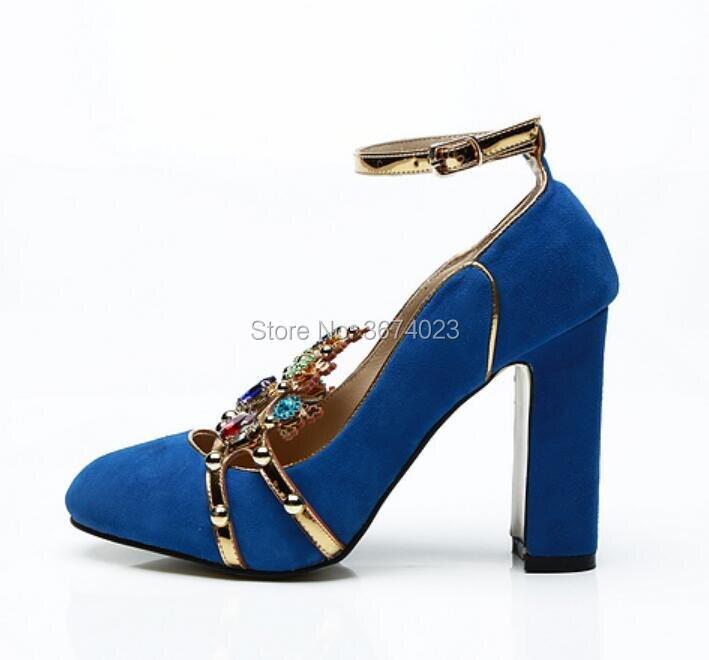 Hauts Talons Sangle Bloc Bout Qianruiti Mariée Rond Diamants Bleu Femmes Couronne Rouge Pompes De rouge Mariage Vogue Coloré Cheville 2018 Bijoux fz5zPvx