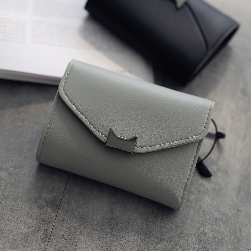 2017 Korean Cute Cat PU Leather Slim Mini Wallet Women Small Clutch Female Purse Coin Card Holder Dollar Bag Teenager 2017 korean cute anime cat leather trifold hasp mini wallet women small clutch female purse brand coin card holder dollar price