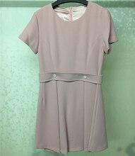 Summer Women Dress 2018 Casual Round Neck Short Sleveve Elegant Pink Female