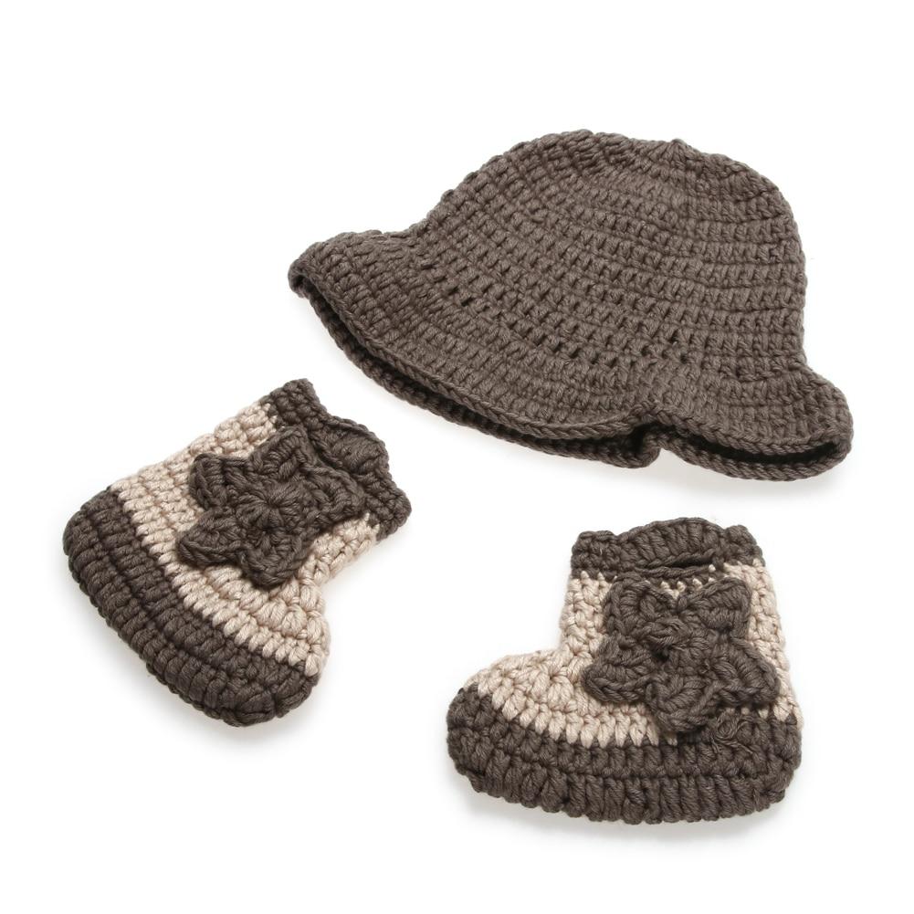 Bebé recién nacido bebé de punto traje vaquero sombrero Botas ...