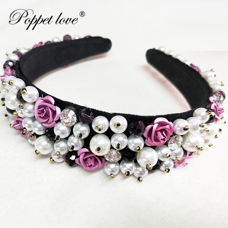 Girl Vintage Exquisite HairBands Ornament Women Shiny Crystal Rhinestone Handmade Covered with pearls Headwear Headband AccessoGirl Vintage Exquisite HairBands Ornament Women Shiny Crystal Rhinestone Handmade Covered with pearls Headwear Headband Accesso