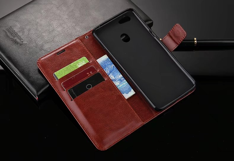 25Pcs/Lot Free Shipping Book Style Crazy Horse Lines Leather Wallet Case For Oppo F5 A73 F9 R17 R17PLUS