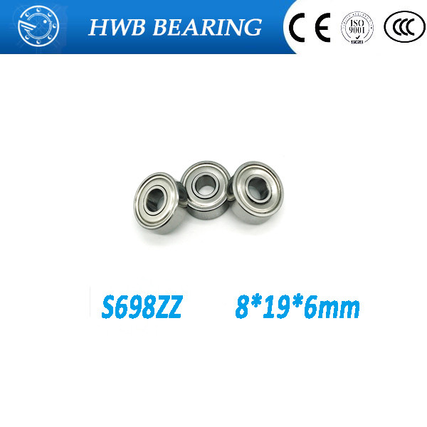 Free shipping 100 s698zz s698 zz ball bearings 8 * 19 * 6mm S698zz stainless steel bearings image