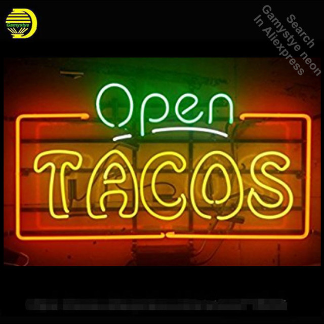 Open Tacos Neon Sign Bear neon bulb Sign neon lights for Beer Pub Real glass Tube Handcrafted Iconic Sign Display light up lamps