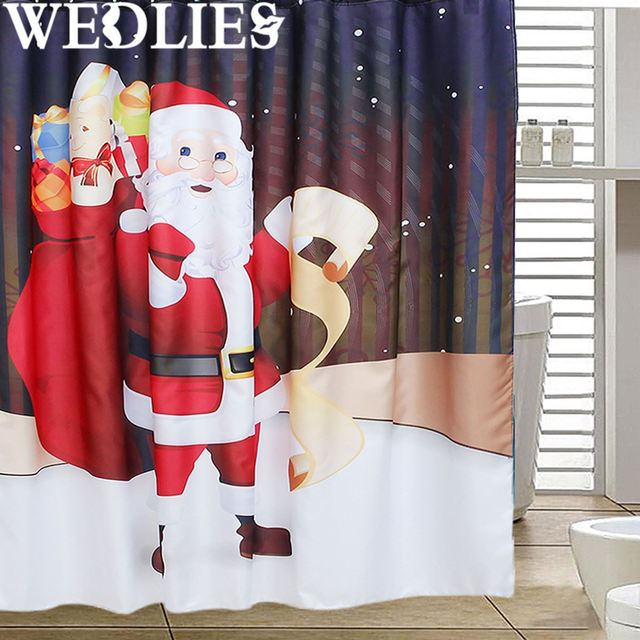 Christmas Santa Claus Shower Curtain Waterproof Bath Screen Cover
