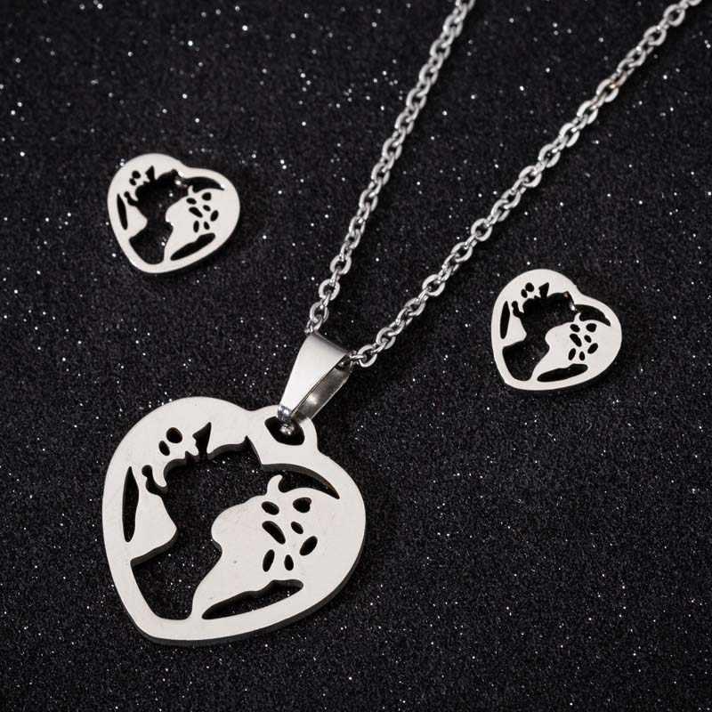 Oly2u Trendy Heart Globe แผนที่จี้สร้อยคอชุดเครื่องประดับสำหรับผู้หญิงต่างหูสร้อยคอ Jewellry ชุดของขวัญวันแม่