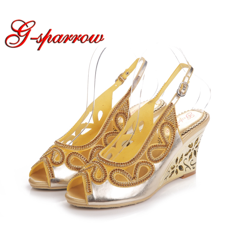 2018 Women Wedge Sandals Bowtie Flower Open Toe Sandal Gold Rhinestone Bridal Wedding Shoes Lady Formal Dress Shoes summer women sandals open toe rhinestone lady designer gladiator sandal boots shinny bridal wedding shoes snake style sandals