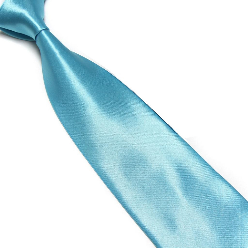HOOYI 2019 Solid Color Men's Business Ties For Man Copy Silk Polyester Necktie Turquoise Blue