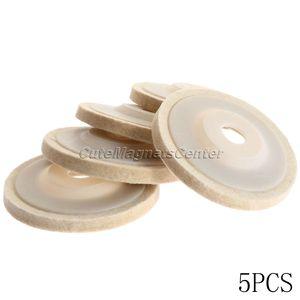 Image 2 - Disques de polissage en laine, 4 pouces, 100mm, 5 pièces, tampons de polissage pour meuleuse dangle, disque de polissage en feutre pour métal, marbre, verre, céramique