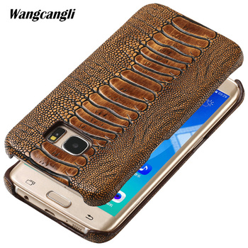 Cowhide ostrich foot texture phone case for Samsung galaxy S7 phone case custom made Genuine leather Mobile phone back cover